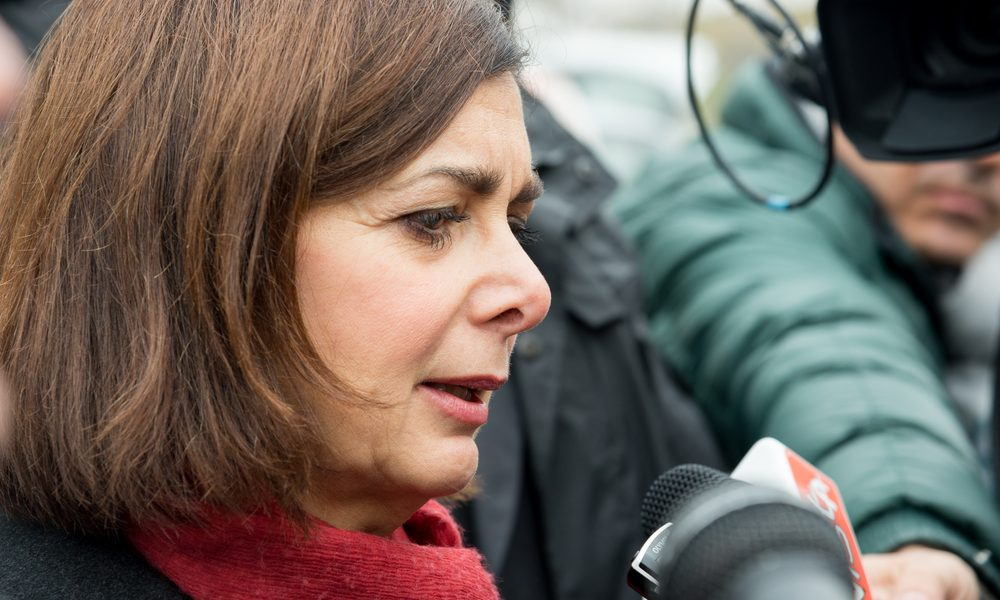 Naples-Italy-December 19, 2016: The president of the Chamber Laura Boldrini visit Scampia district and meet its people with the mayor De Magistris. Scampia is the set of Gomorrah fiction.