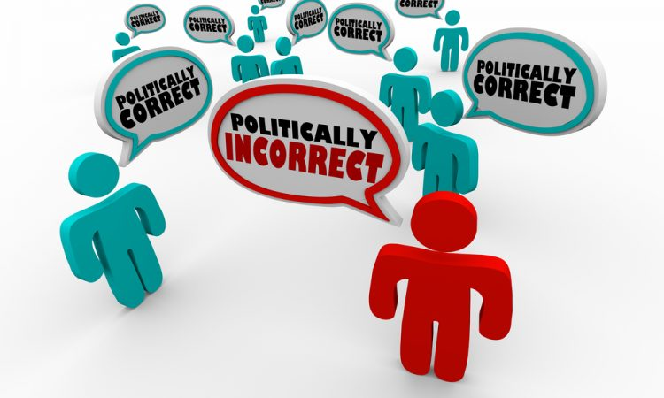 Politically Incorrect Person Among Correct People Speech Bubble Words 3d Render Illustration