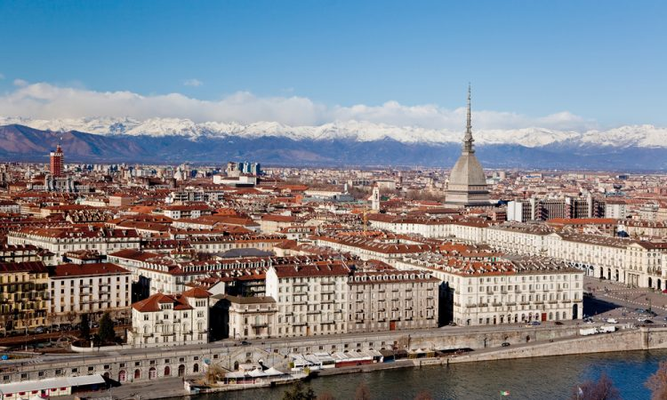 Turin panoramic view; winter clear day; Italy, Europe