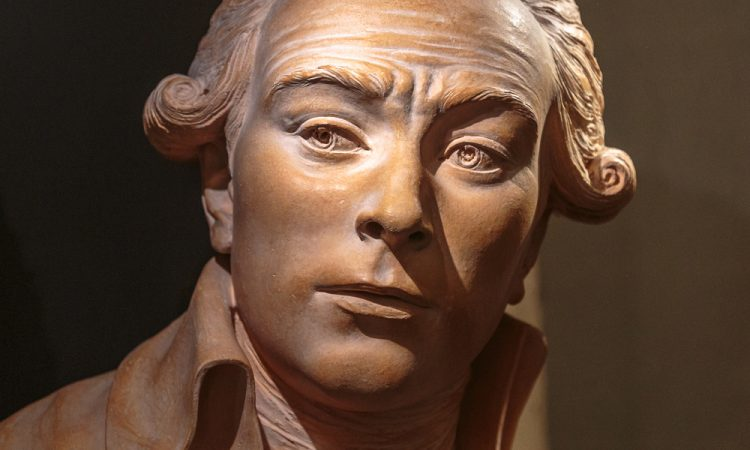 Paris, France - 1 April, 2017: Maximilien Robespierre 1758-1794. French lawyer and politician, an influential figure associated with the French Revolution. Bust statue.