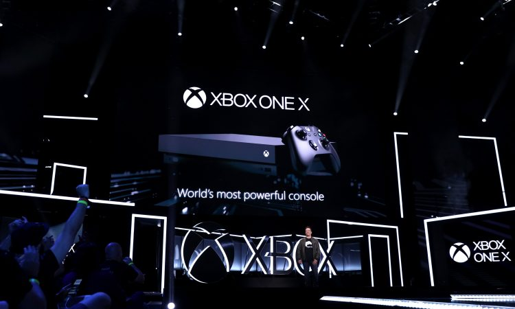 Phil Spencer, Head of Xbox, unveils Xbox One X at the Xbox E3 2017 Briefing on Sunday, June 11, 2017 in Los Angeles. (Photo by Matt Sayles/Invision for Microsoft/AP Images)